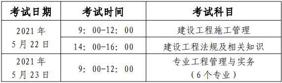 二建考试科目安排